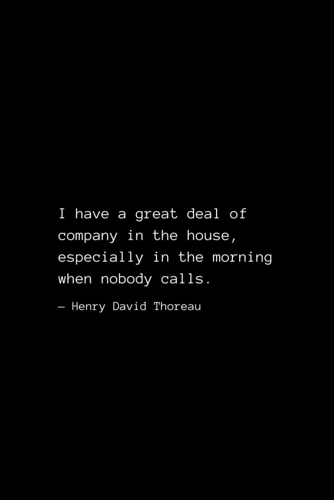 I have a great deal of company in the house, especially in the morning when nobody calls. — Henry David Thoreau