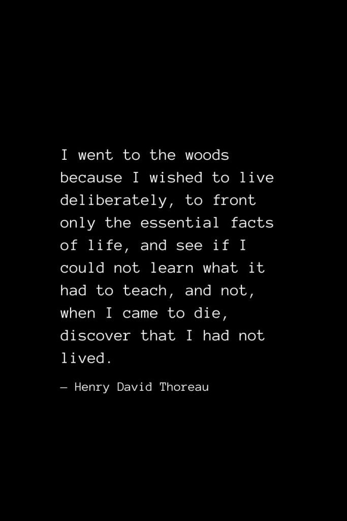 I went to the woods because I wished to live deliberately, to front only the essential facts of life, and see if I could not learn what it had to teach, and not, when I came to die, discover that I had not lived. — Henry David Thoreau