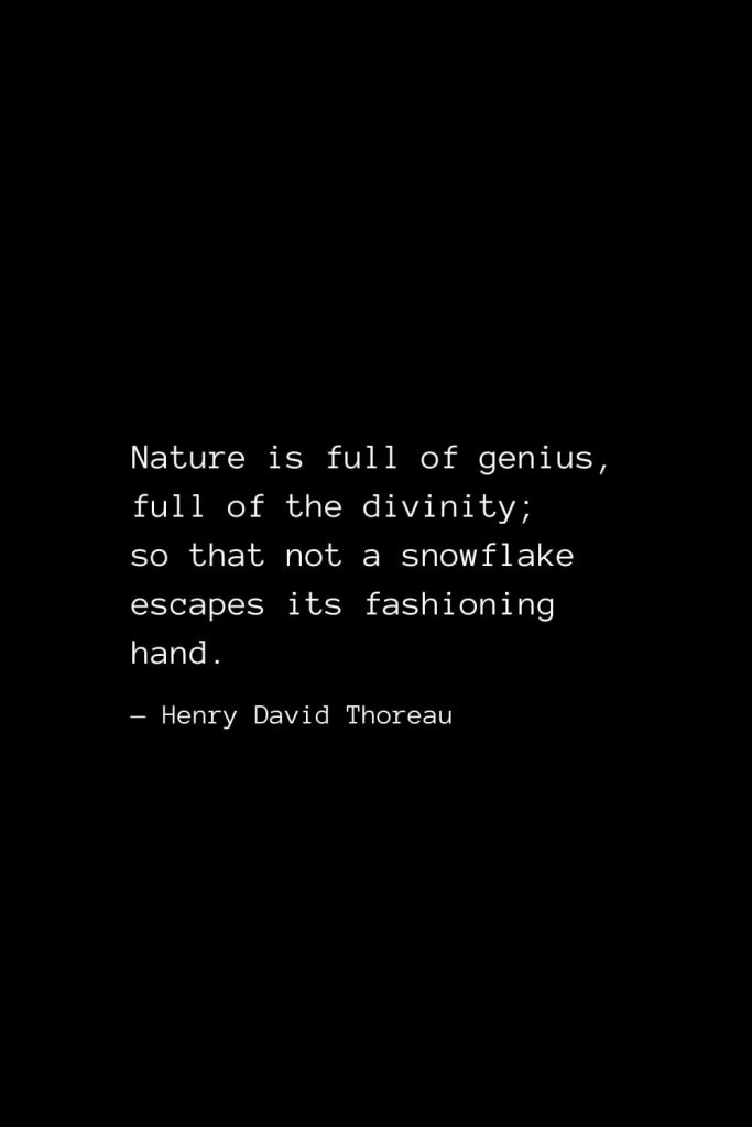 Nature is full of genius, full of the divinity; so that not a snowflake escapes its fashioning hand. — Henry David Thoreau
