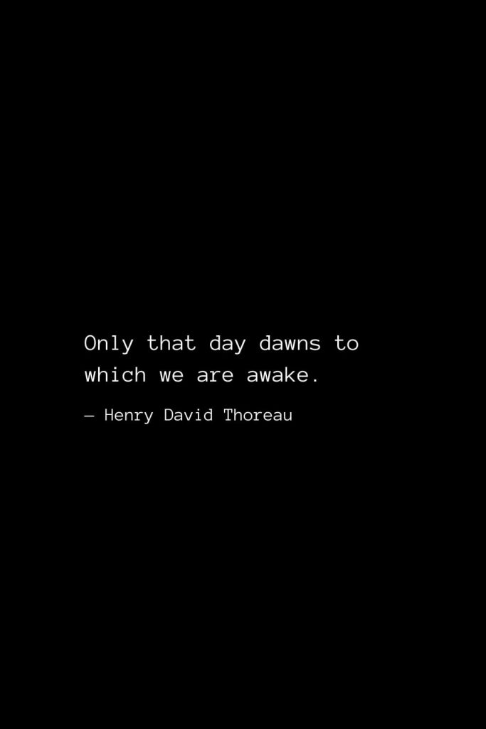 Only that day dawns to which we are awake. — Henry David Thoreau
