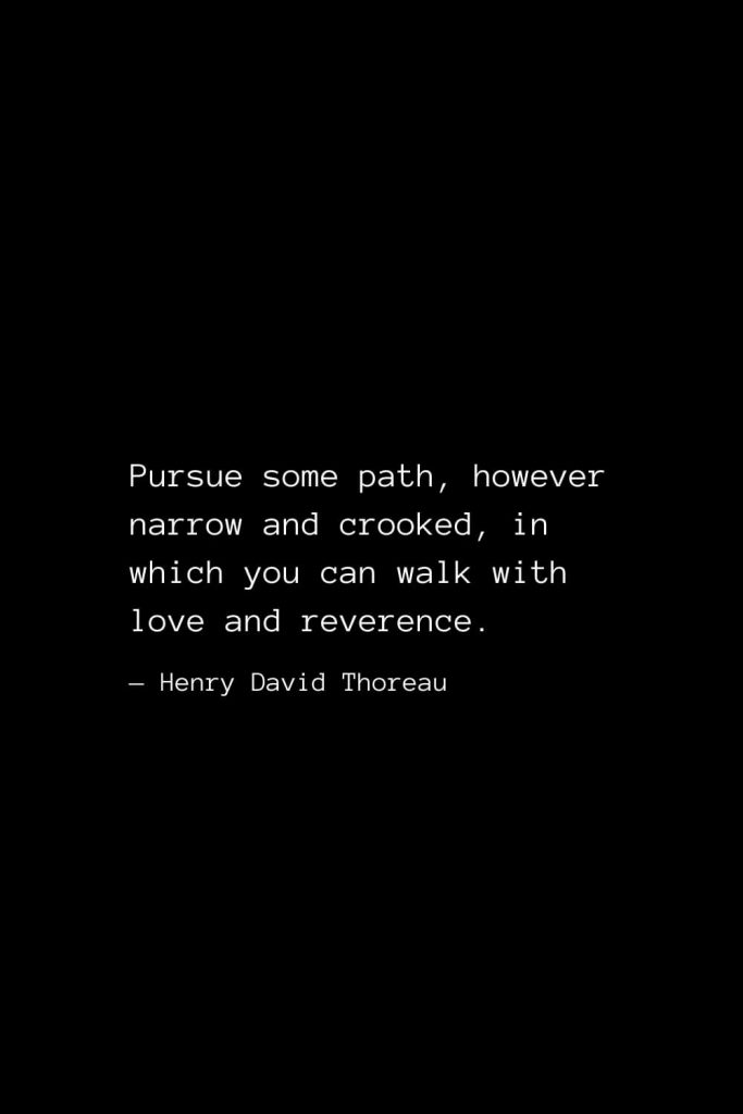 Pursue some path, however narrow and crooked, in which you can walk with love and reverence. — Henry David Thoreau