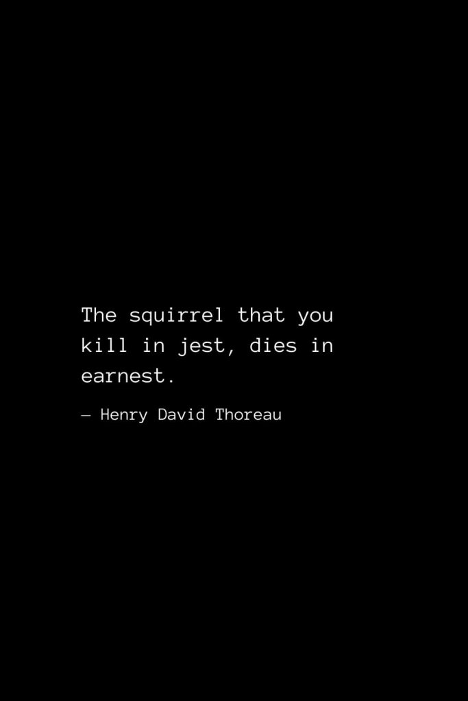 The squirrel that you kill in jest, dies in earnest. — Henry David Thoreau