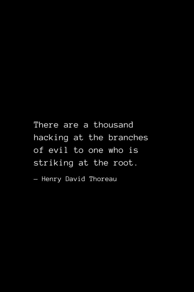 There are a thousand hacking at the branches of evil to one who is striking at the root. — Henry David Thoreau