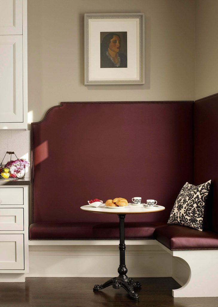 This purple banquette in San Francisco was created by designer Steven Miller