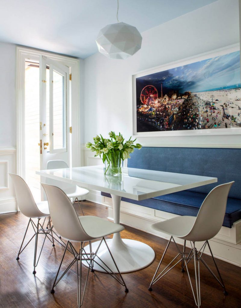 elegant banquette with matching trim for a breakfast area on Manhattan's Upper East Side