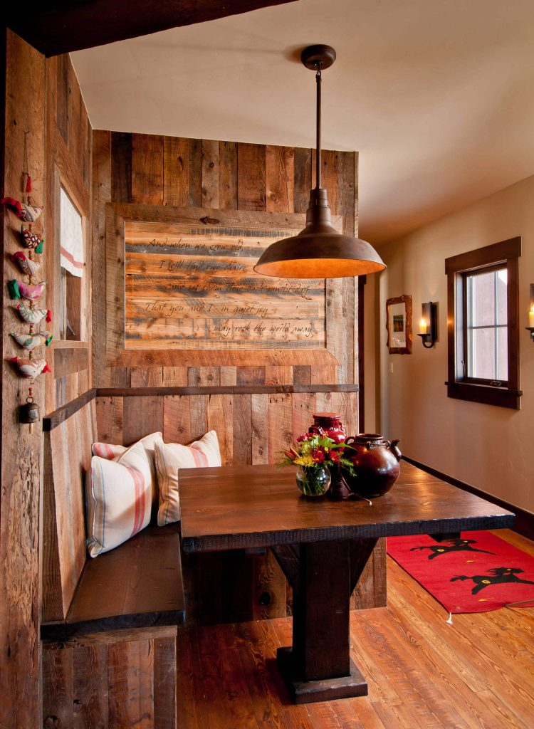 rustic breakfast banquette for a ranch home located in Steamboat Springs, Colorado
