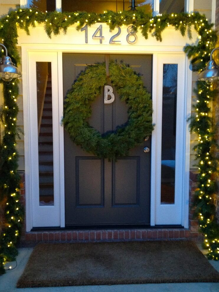 A monogram marks this bedecked home.