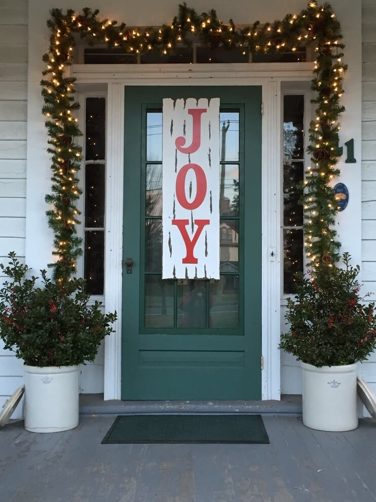 A spirited message marks this door, spreading the joy to all who approach.