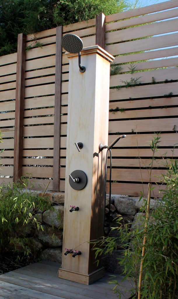 Custom outdoor shower by Coyle & Caron Landscape Architecture