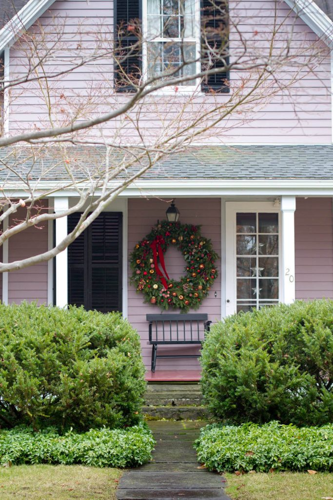 If you like an oversize wreath that is too big for your door, find a spot nearby.