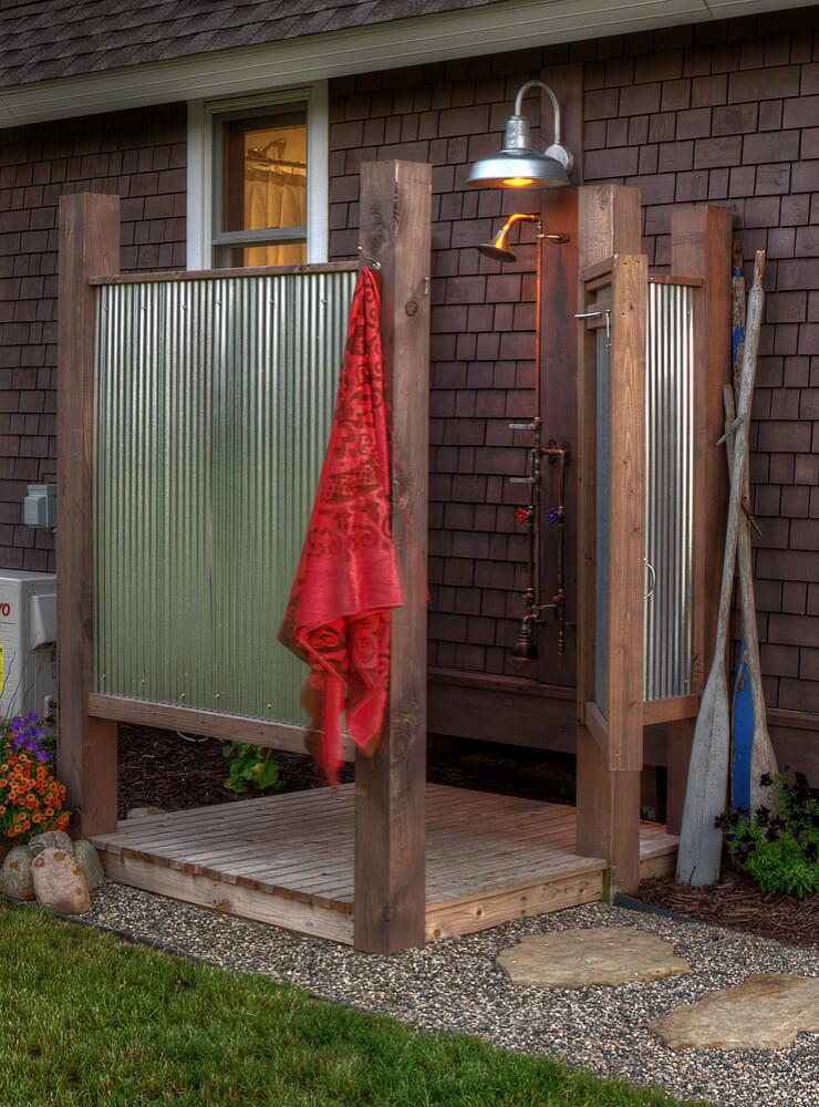 Open air shower in Minnesota built by Lands End Development