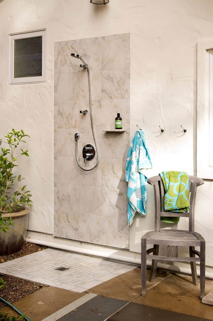 Outdoor shower by Bill Fry Construction