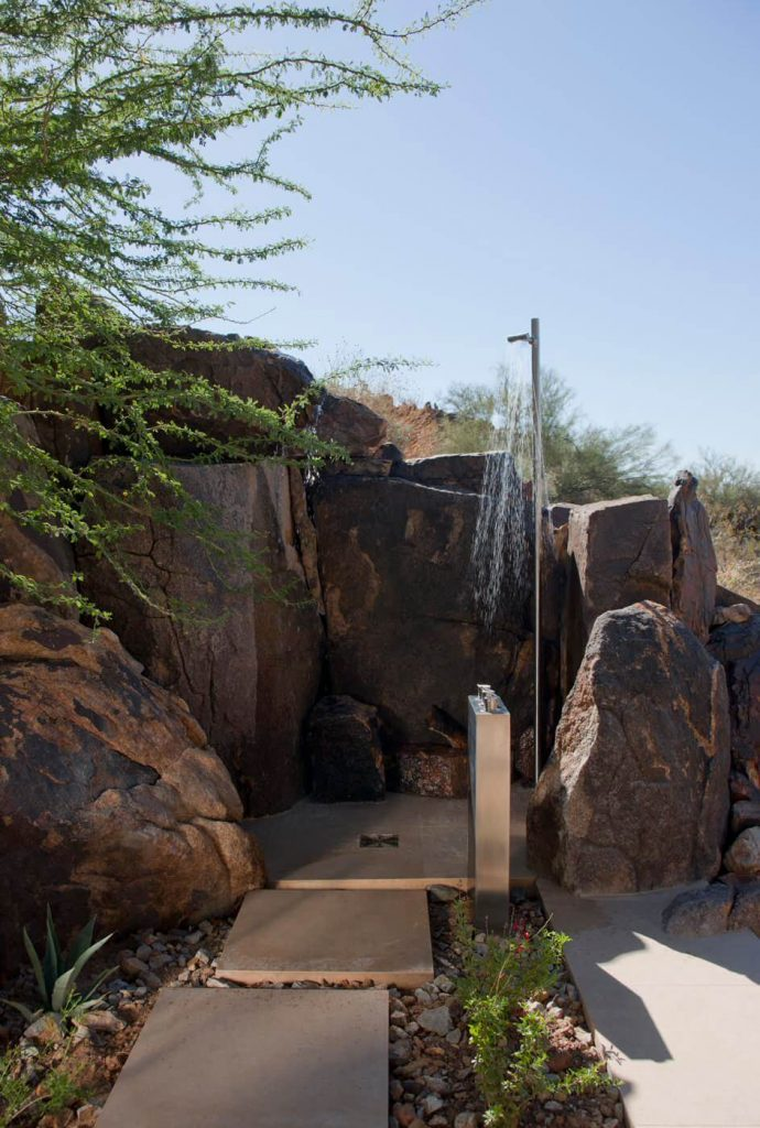 Outdoor shower designed by the team at Swaback