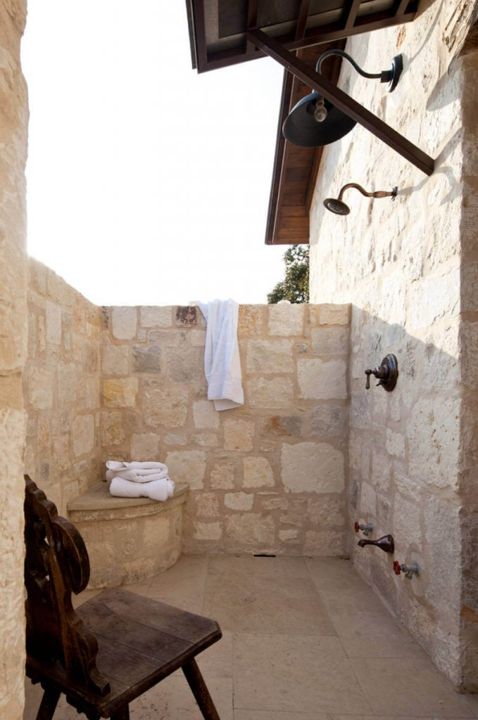 Patio with this outdoor shower