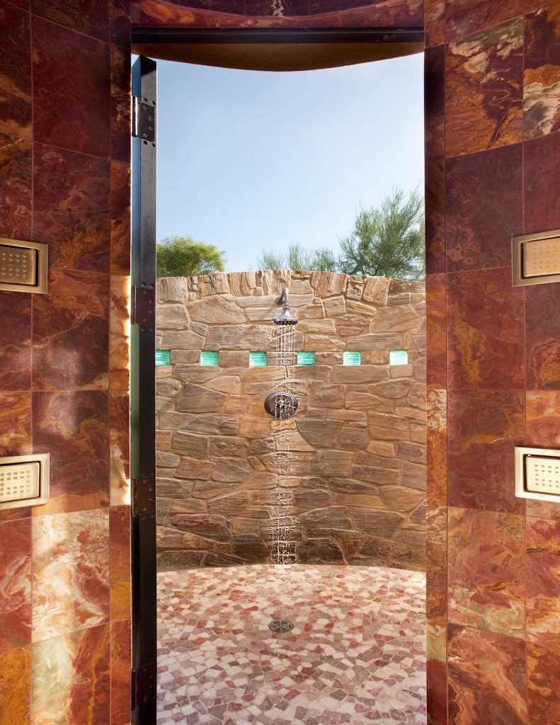 Phoenix outdoor shower sparkle at eye level as they catch the eastern morning light