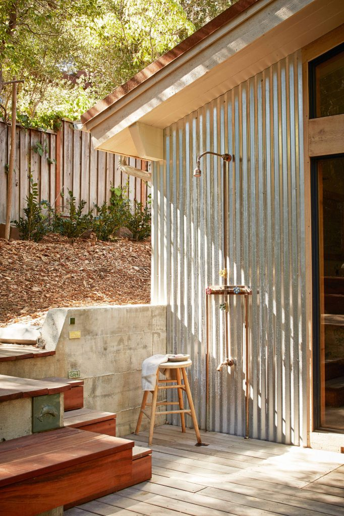 Rustically chic outdoor shower