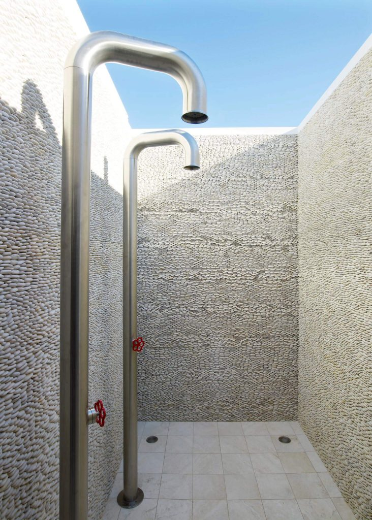 Stunning outdoor shower on a property on New York's Long Island