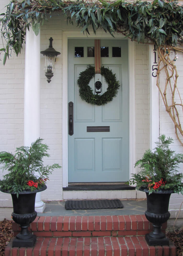 The door wreath hook is a decorating opportunity. Try covering it with a ribbon or fabric.
