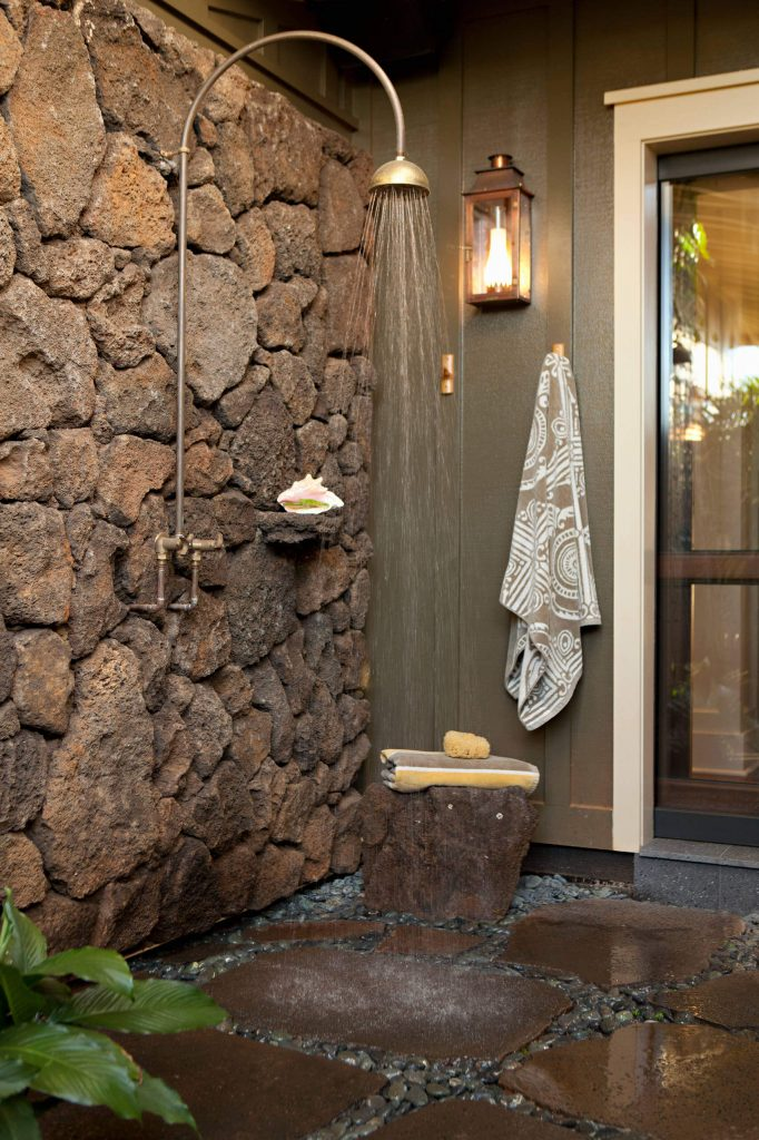 The shower wall for this Hawaiian property by Chelsea Court Designs