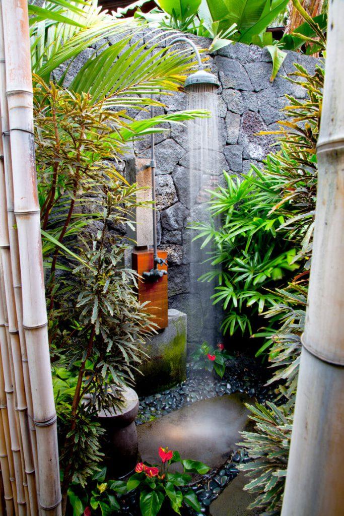 Tropical outdoor shower in Hawaii